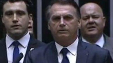 Bolsonaro fica emocionado durante posse presidencial - Foto/Reprodução: Pool de emissoras