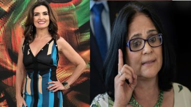 Apresentadora Fátima Bernardes usa azul, após polêmica com Ministra Damares - Foto/Montagem: Instagram