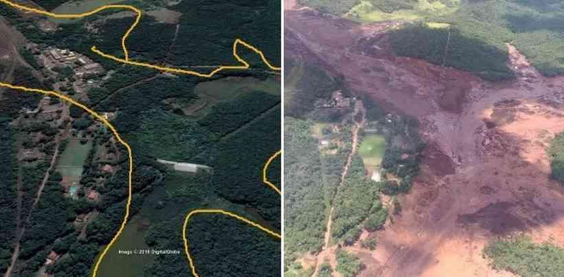 Antes e depois da região de Brumadinho, em Minas Gerais - Foto/Divulgação
