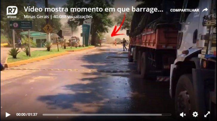 Vídeo mostra momento em que barragem de Brumadinho desmorona - Foto/Divulgação