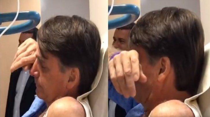 Bolsonaro se emociona ao receber cantores no hospital - Foto/Divulgação